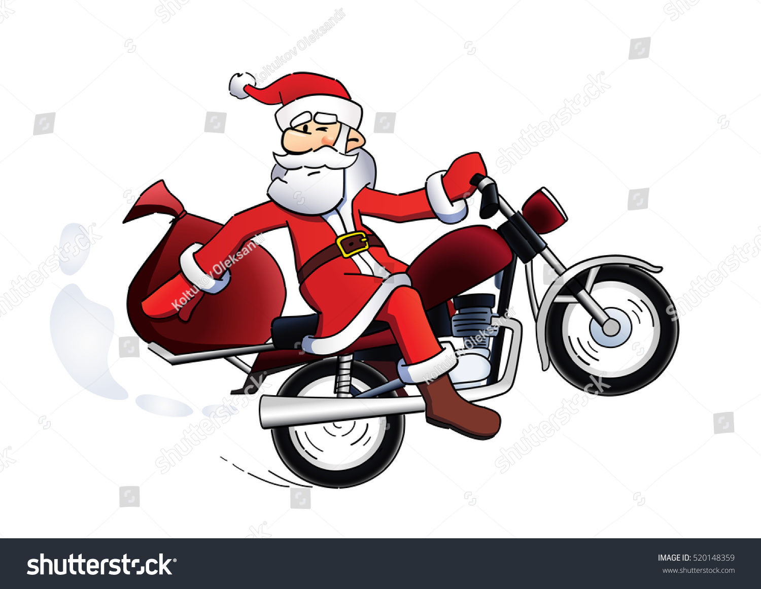 Happy Santa Claus On Red Motorbike Stock Vector (Royalty Free ...