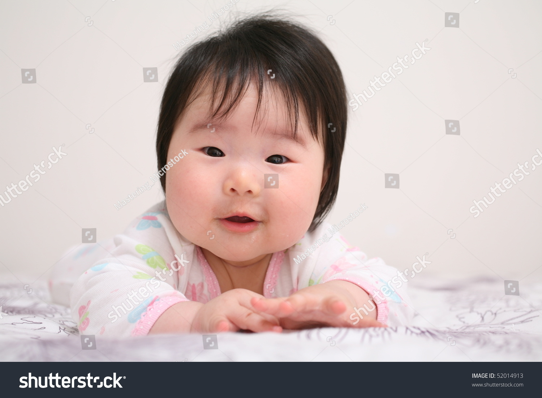 beautiful baby asian girl infant smiling stock photo & image