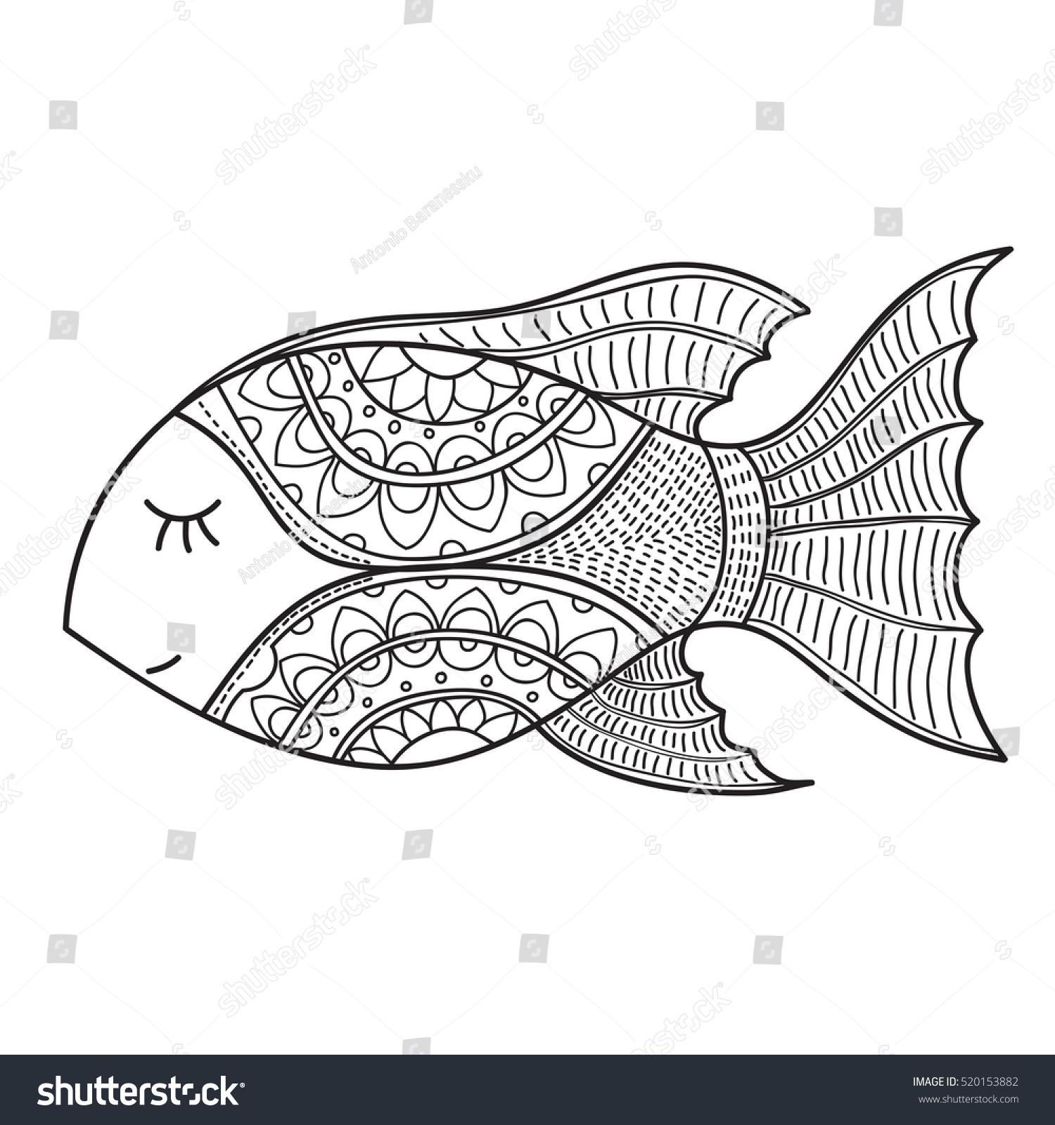 decorative fish drawing abstract ornaments hand stock vector