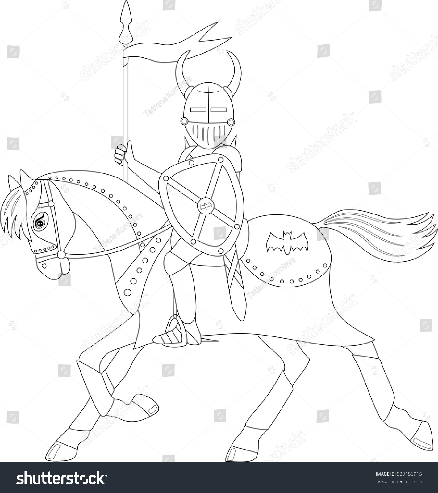 knight on a running horse, coloring page | EZ Canvas