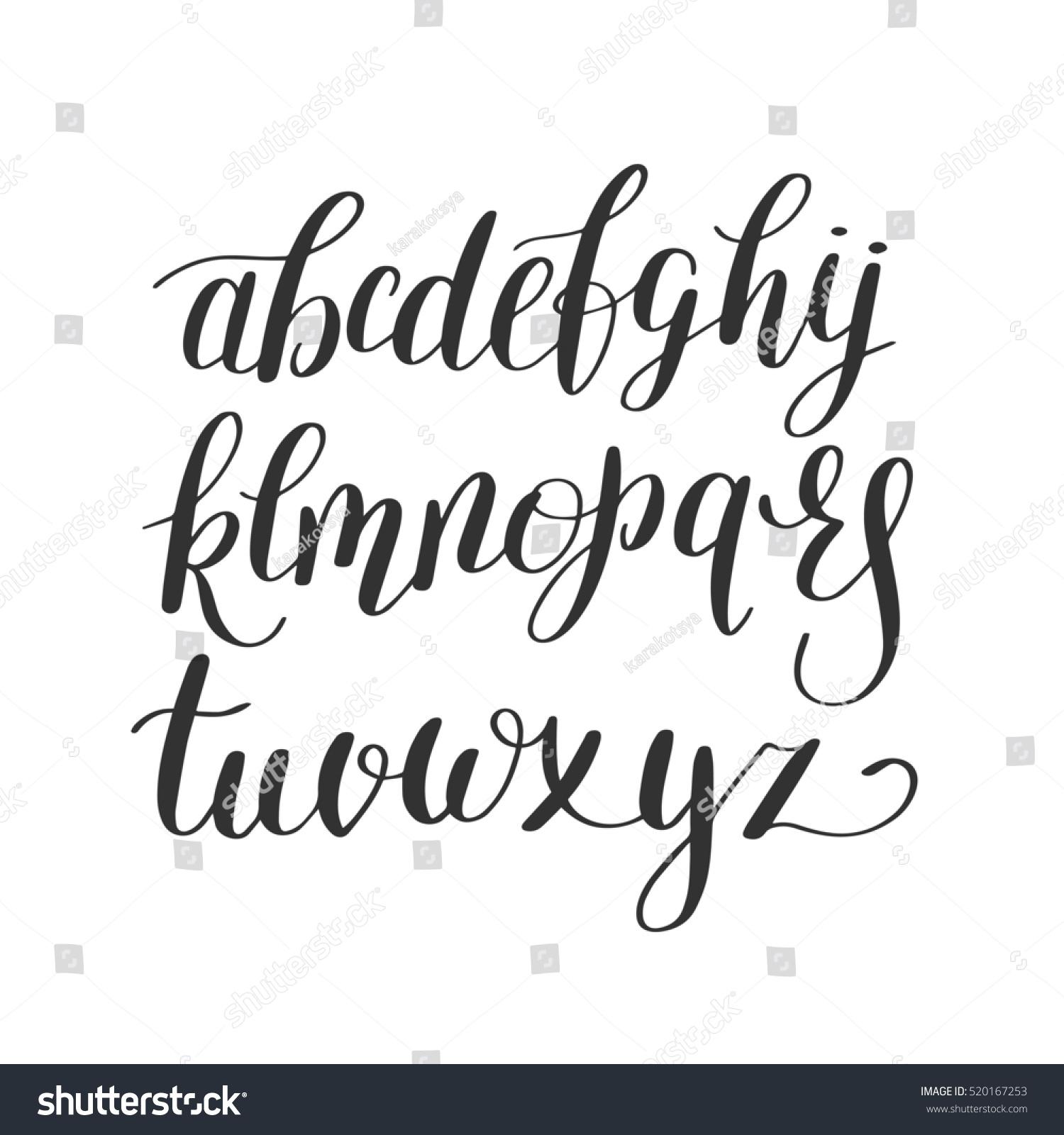 Black And White Hand Lettering Alphabet Design Handwritten Brush Script Modern Calligraphy Cursive Font Raster