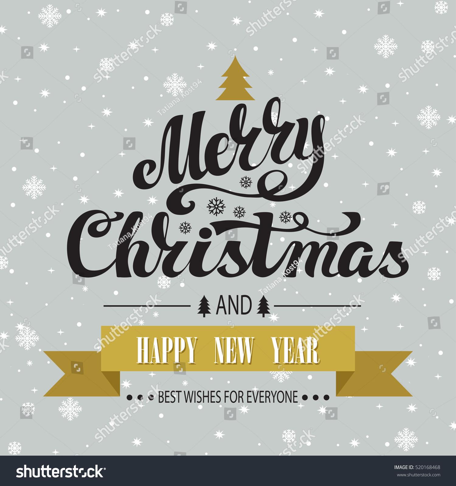 Christmas Greeting Card Merry Christmas Vector Stock Photo Photo