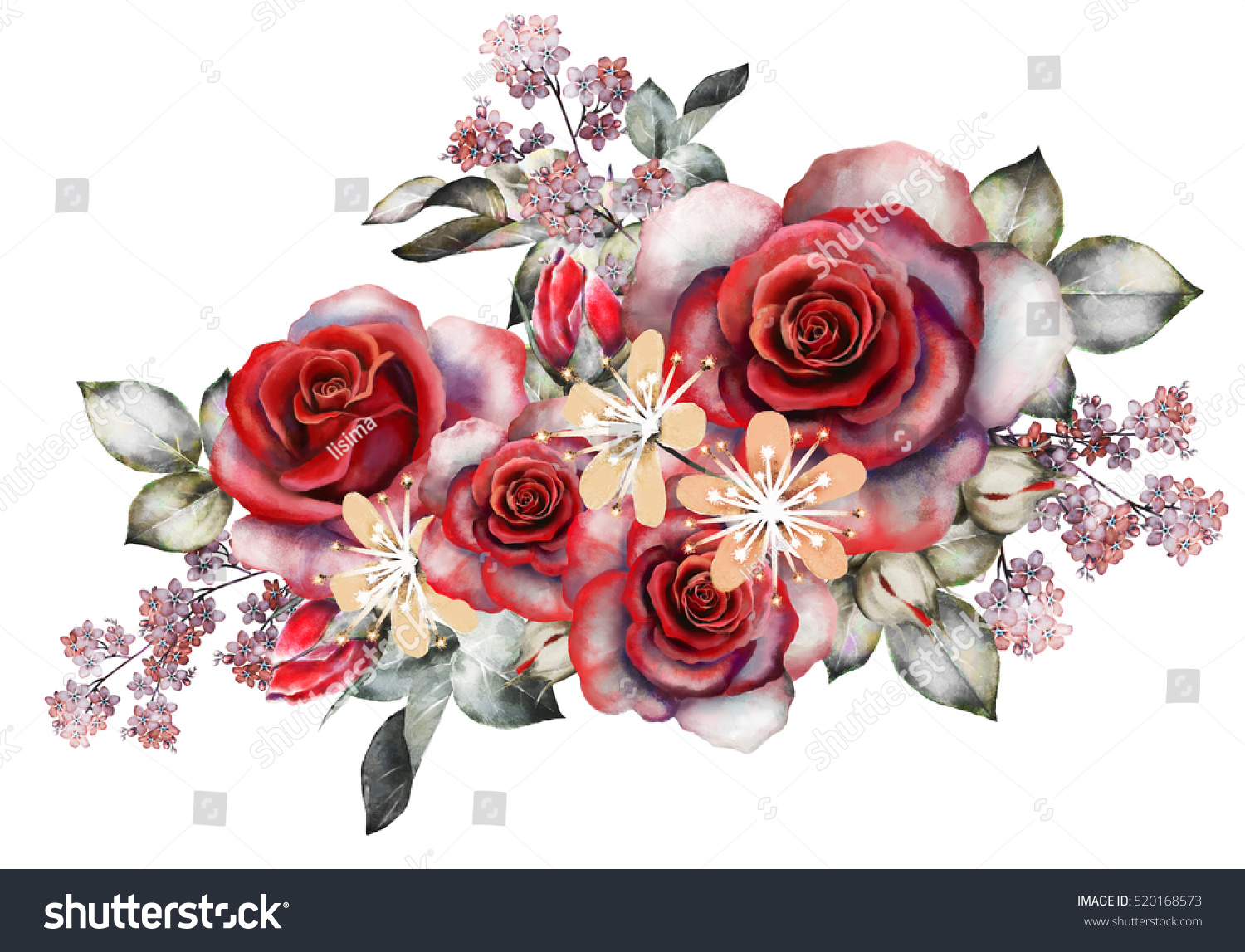 Watercolor Flowers Romantic Floral Illustration Red Stock ...