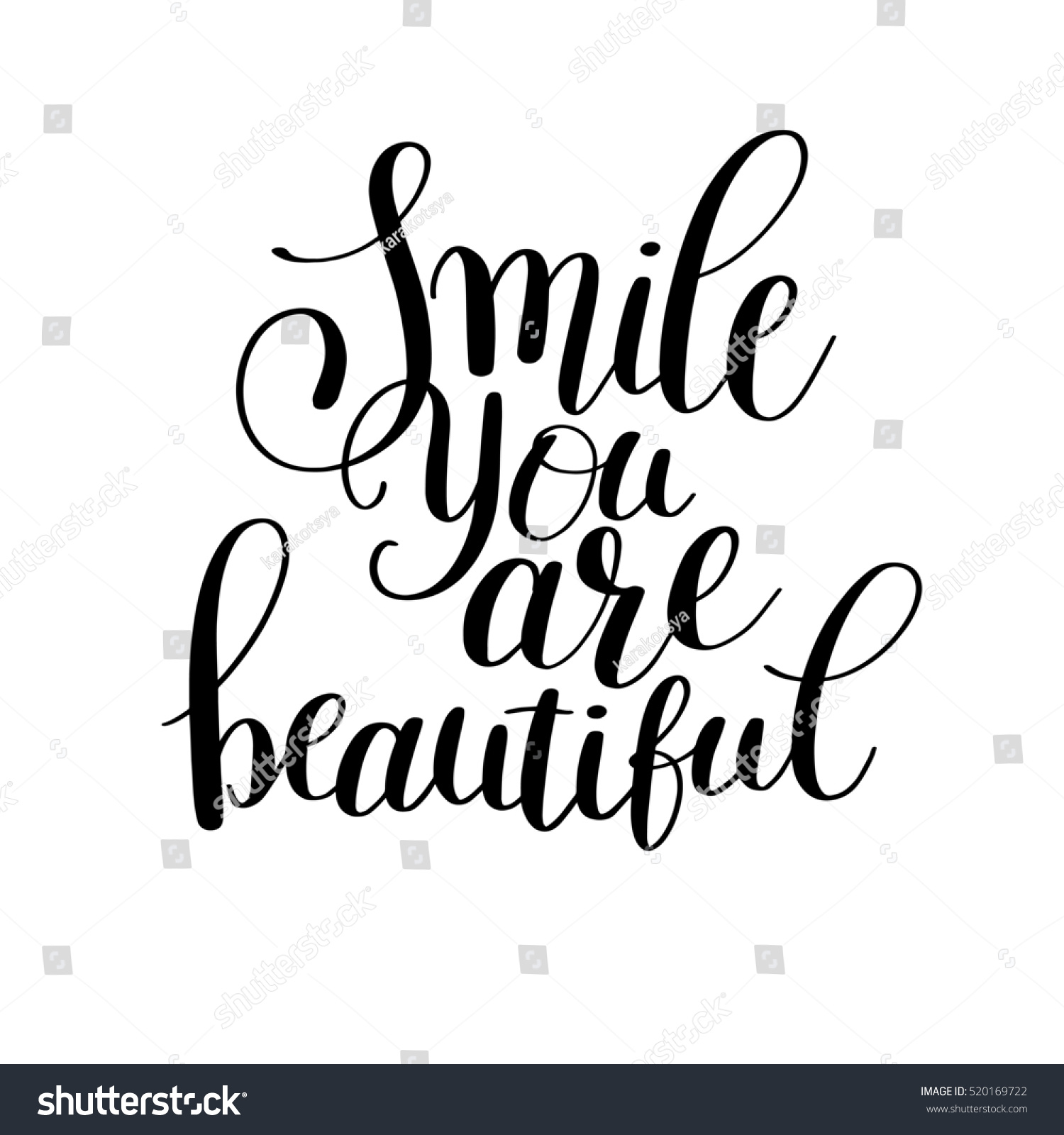 You Are Beautiful Quotes | Smile You Beautiful Phrase Hand Lettering Stock Illustration