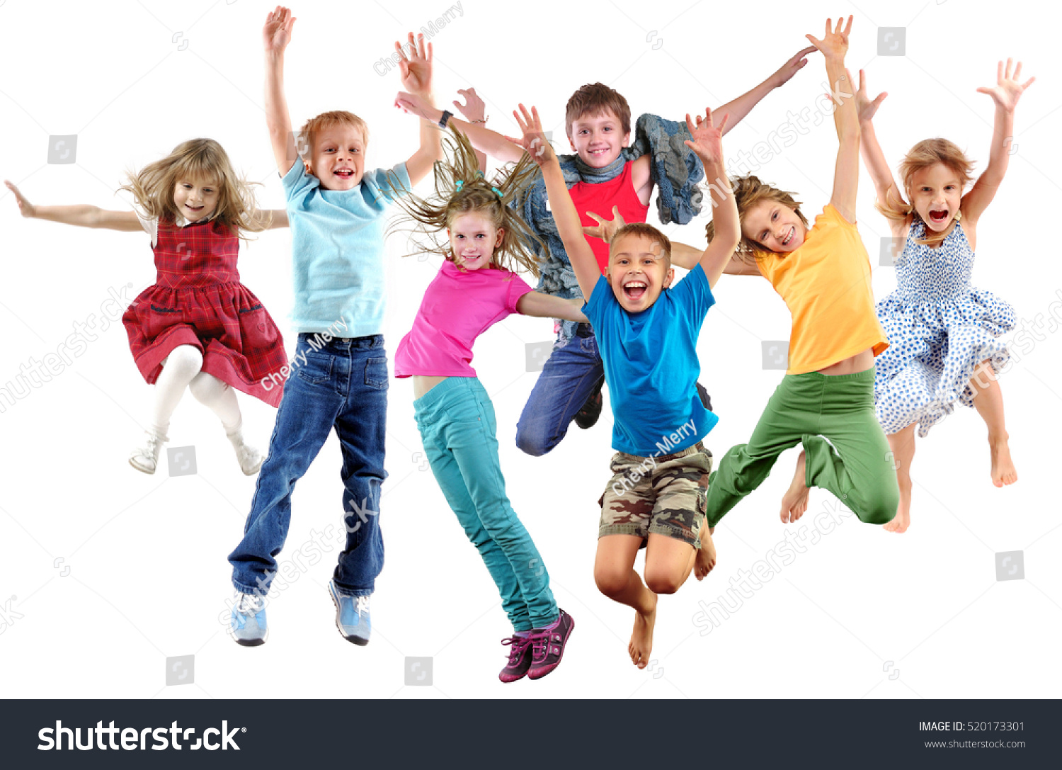 Large group of happy cheerful sportive children jumping, sporting and dancing. Isolated over white background. Childhood, freedom, happiness, active lifestyle concept. #520173301