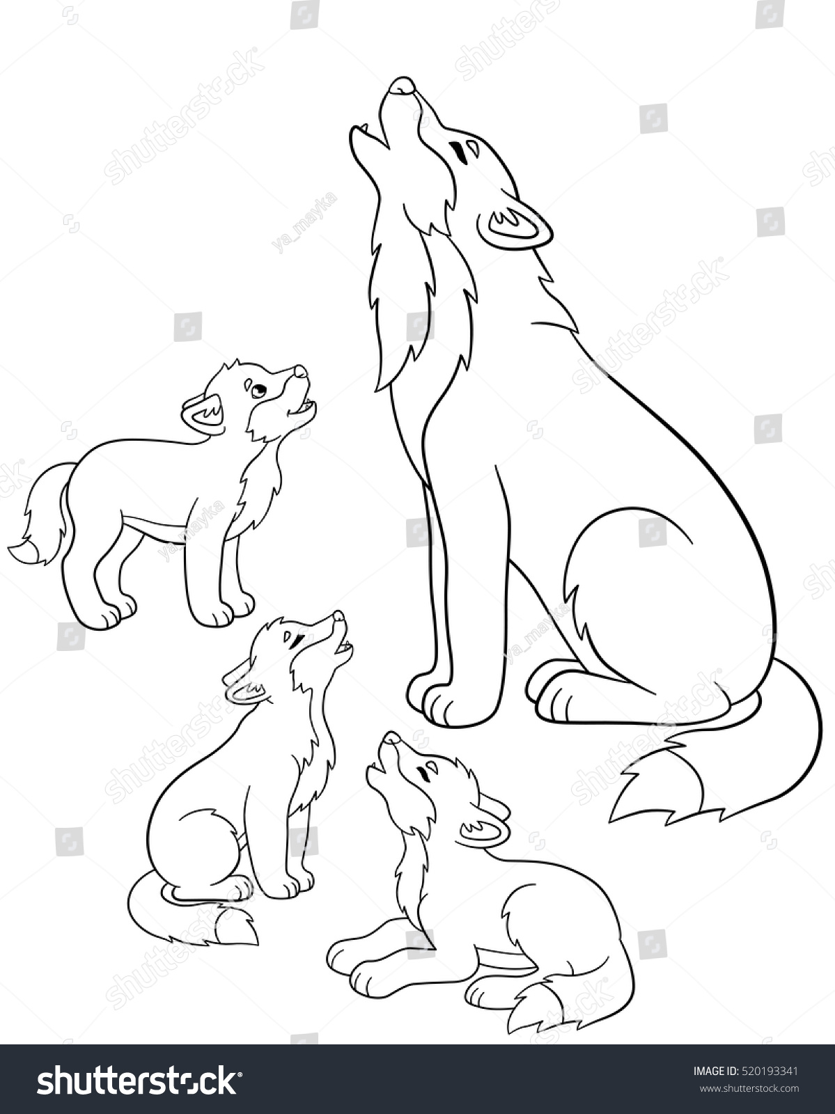 coloring pages father wolf howls with his little cute babies