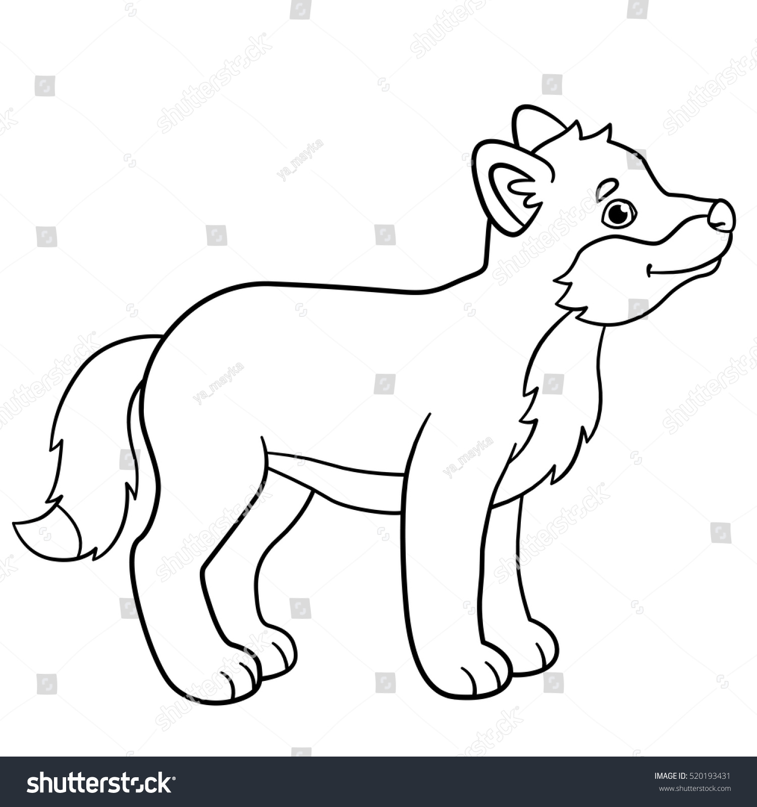 Coloring Pages Little Cute Baby Wolf Stock Vector HD (Royalty Free ...
