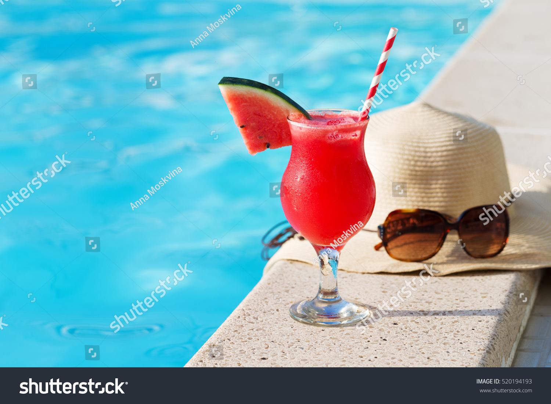 Fresh Glass Watermelon Smoothie Drink Sunglasses Stock