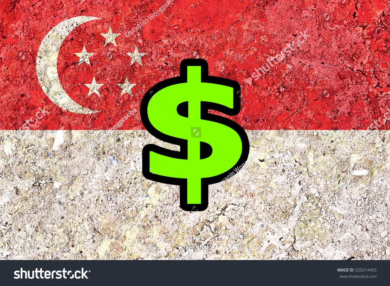 Singapore Dollar Symbol Over Singapore Flag Stock Photo Royalty
