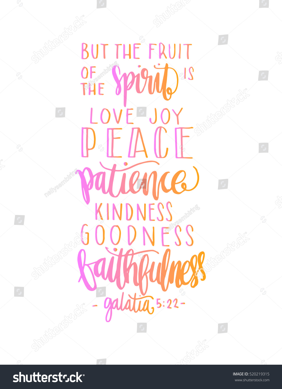 Bible Quotes About Happiness Fruits Happiness Hand Drawn Lettering Bible Stock Vector 520219315