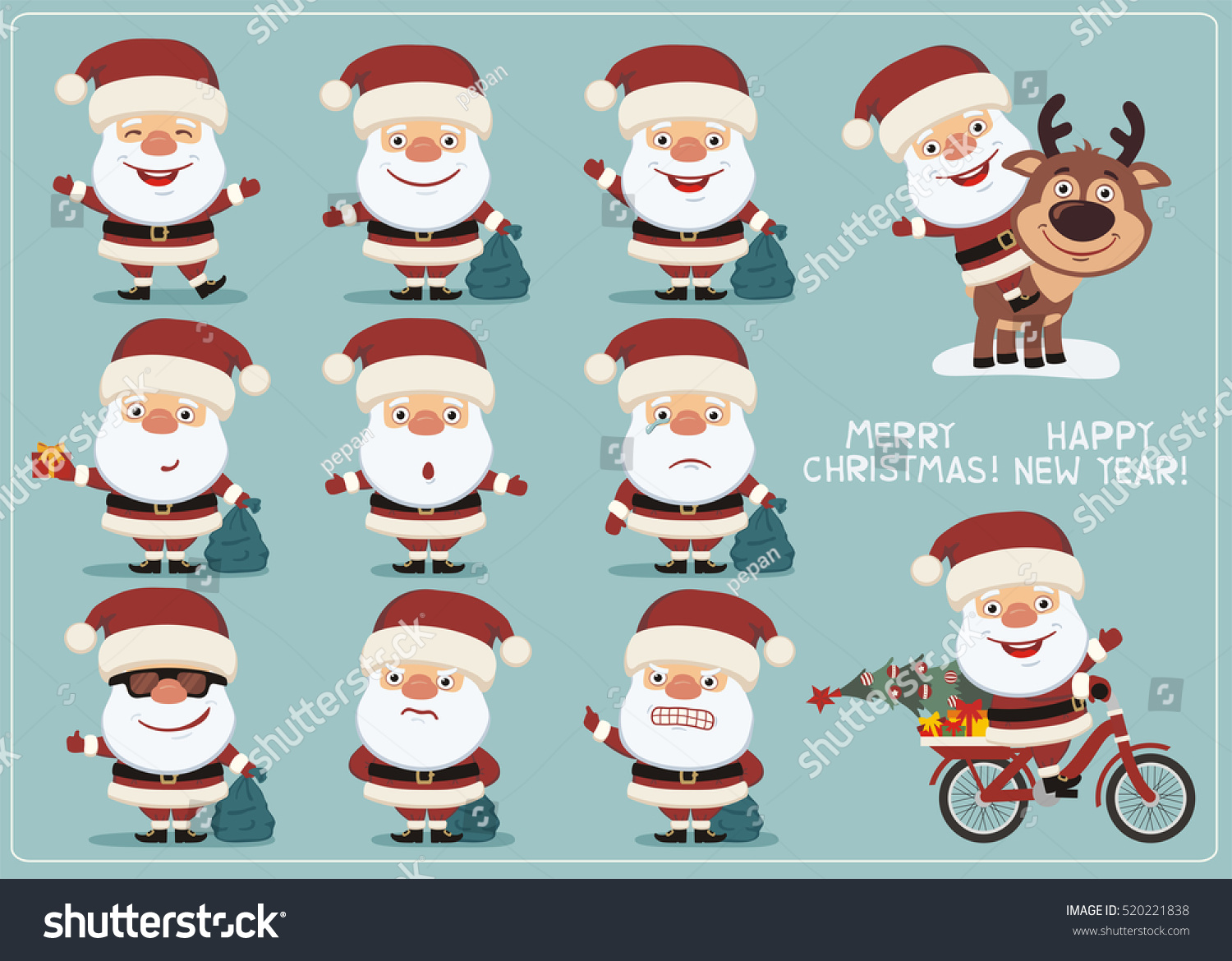 set funny santa claus different poses stock vector 520221838
