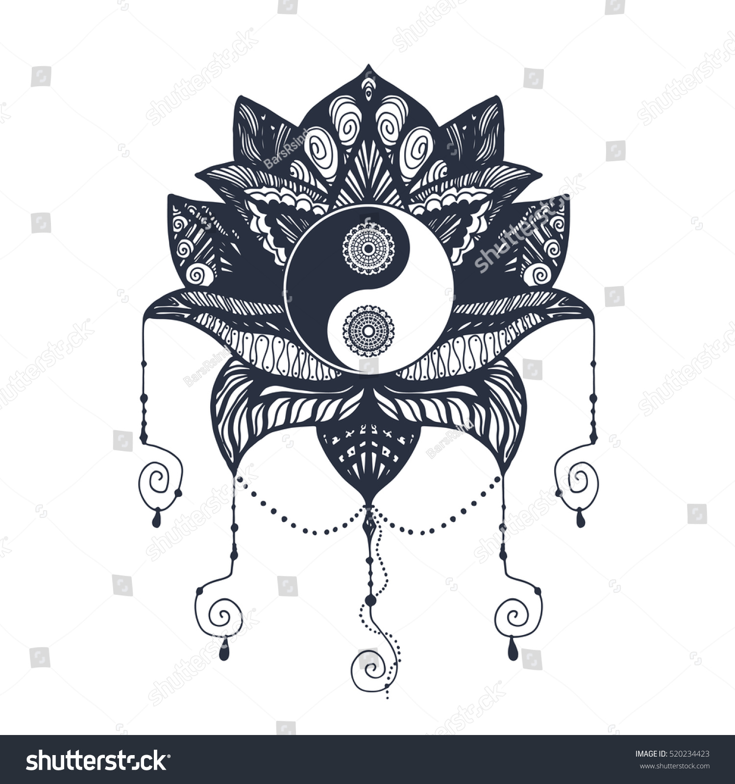 Vintage yin yang mandala lotus tao stock vector 520234423 shutterstock vintage yin and yang in mandala lotus tao symbol for print tattoo coloring buycottarizona Images