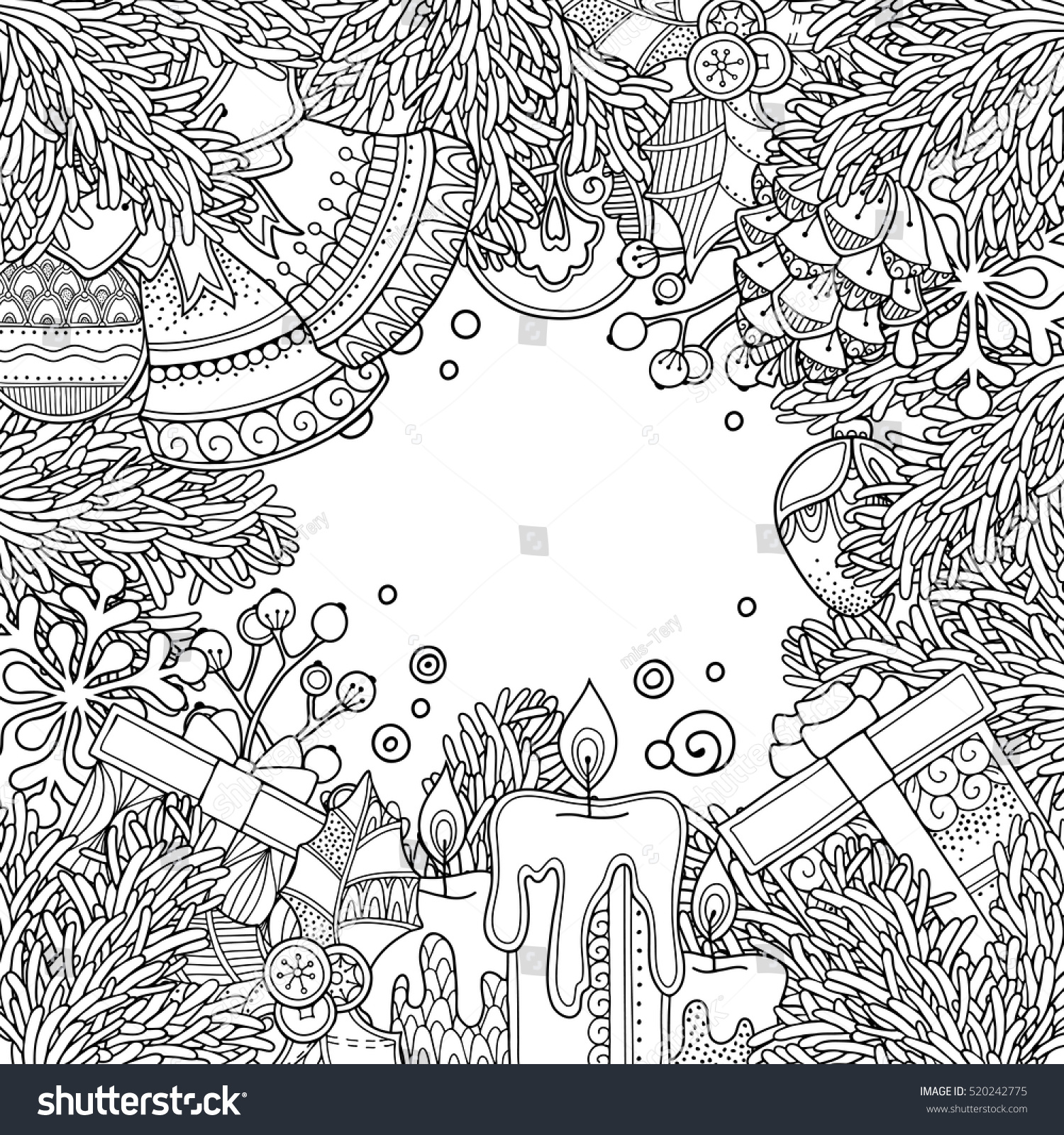 Christmas Frame Doodle Style Floral Ornate Stock Vector HD Royalty