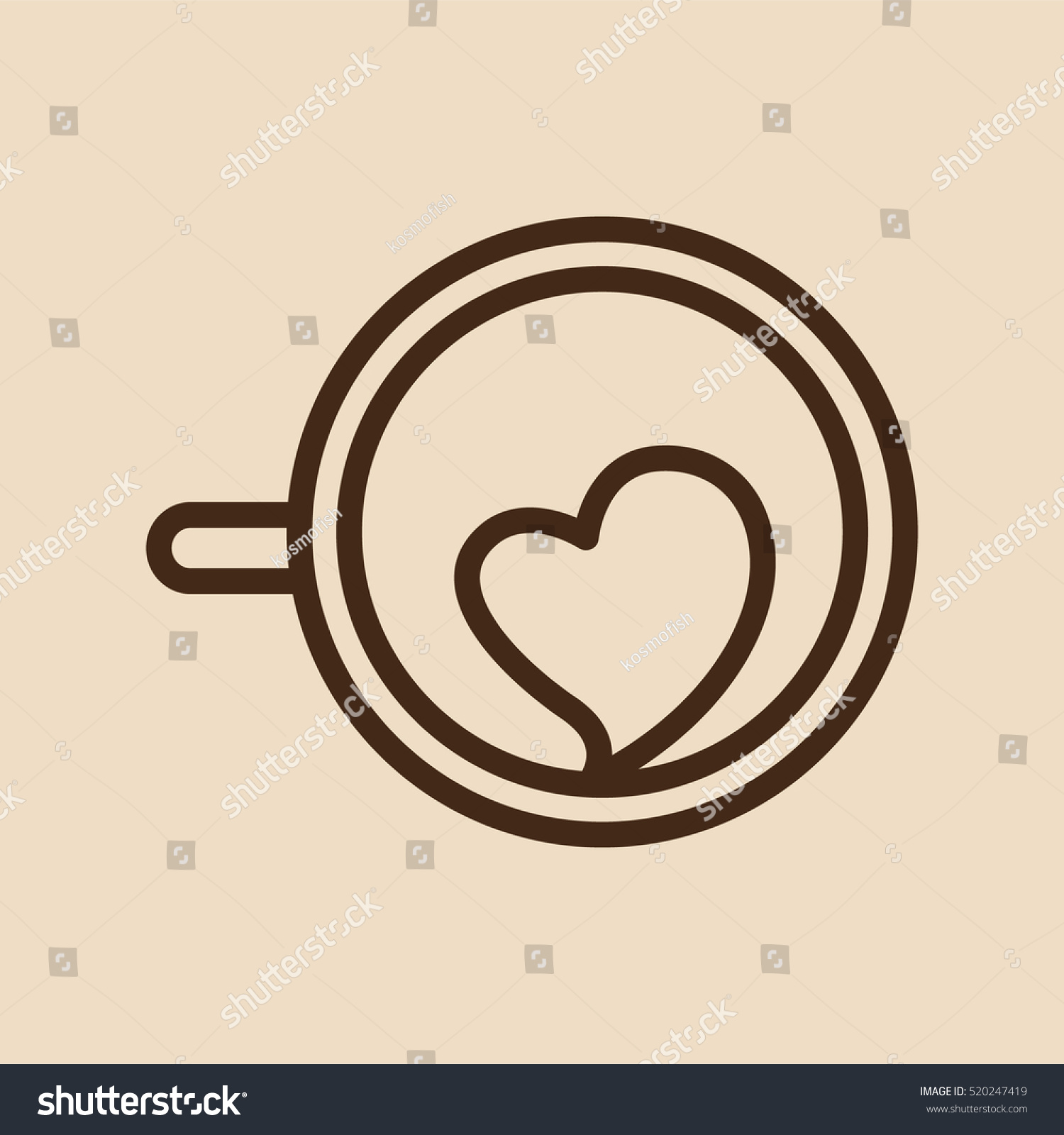 Cappuccino Coffee Cup Mug Minimalistic Flat Line Outline Stroke Icon Pictogram Symbol