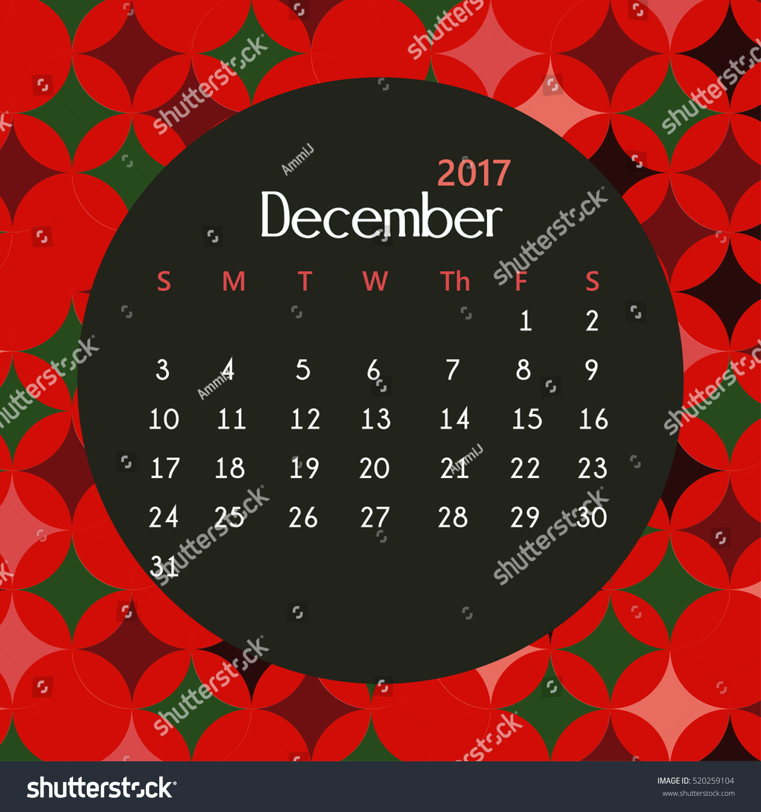 2017 December Calendar Design Geometric Background Stock ...