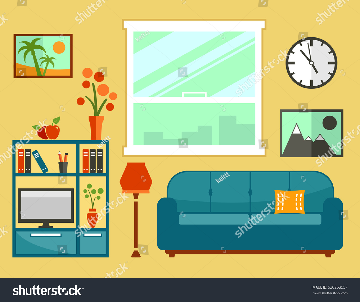 apartment room clipart. living room interior with flat furniture apartment set for cozy furnishing home clipart e