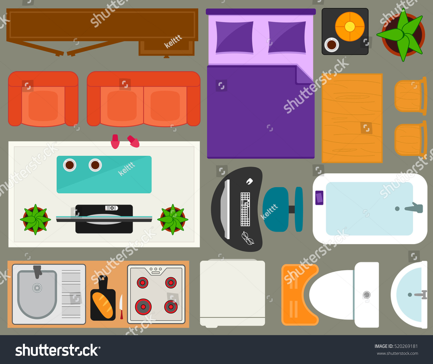 designer office desk isolated objects top view. room interior apartment furniture set overhead top view of isolated furnishing object for designer office desk objects n