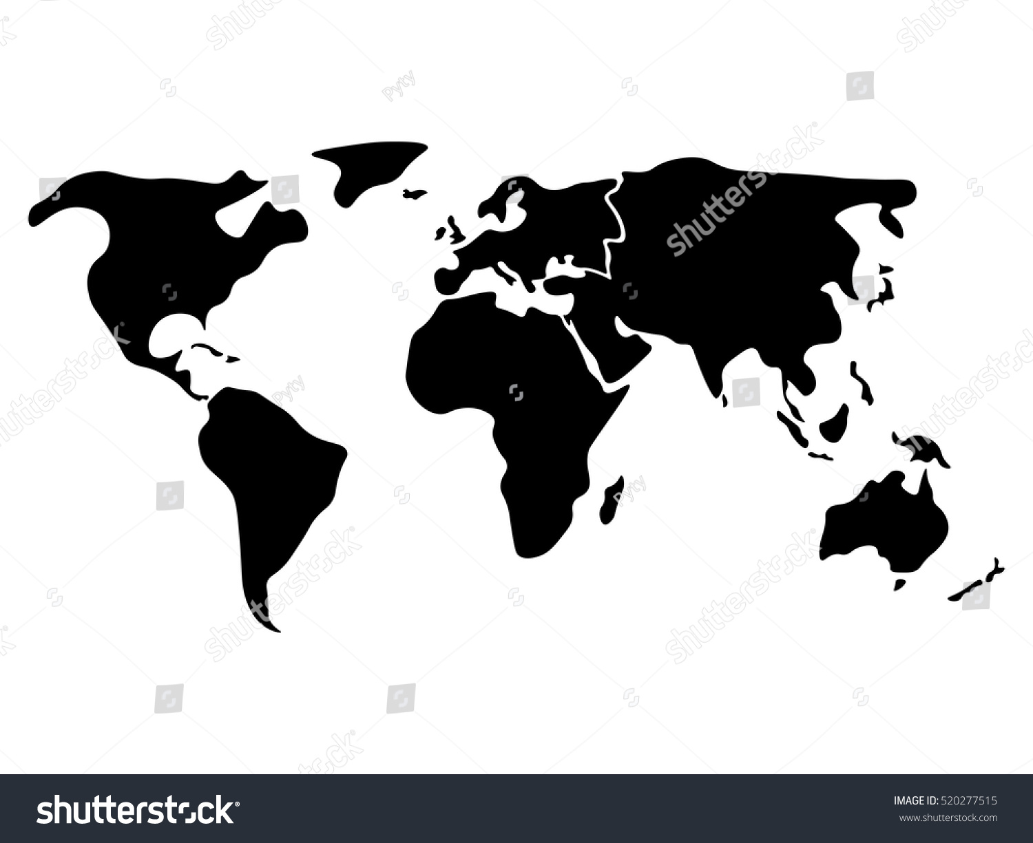World map divided six continents black vectores en stock 520277515 world map divided to six continents in black north america south america africa gumiabroncs Image collections