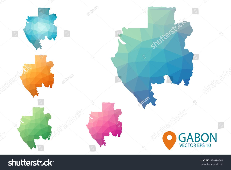 Set Vector Polygonal Gabon Maps Bright Stock Vector 520280791