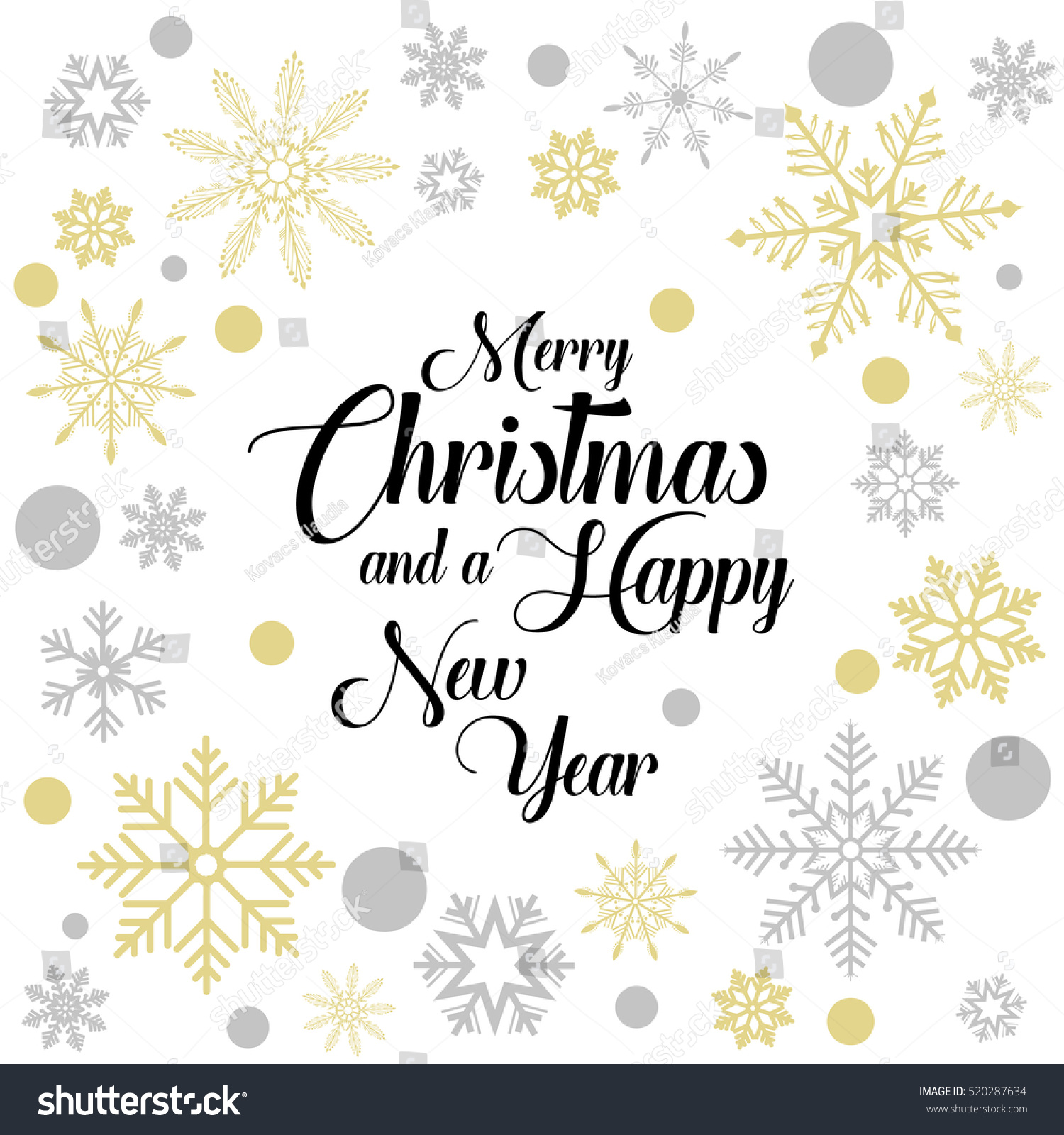 Merry Christmas Gold Silver Greeting Card Stock Vector