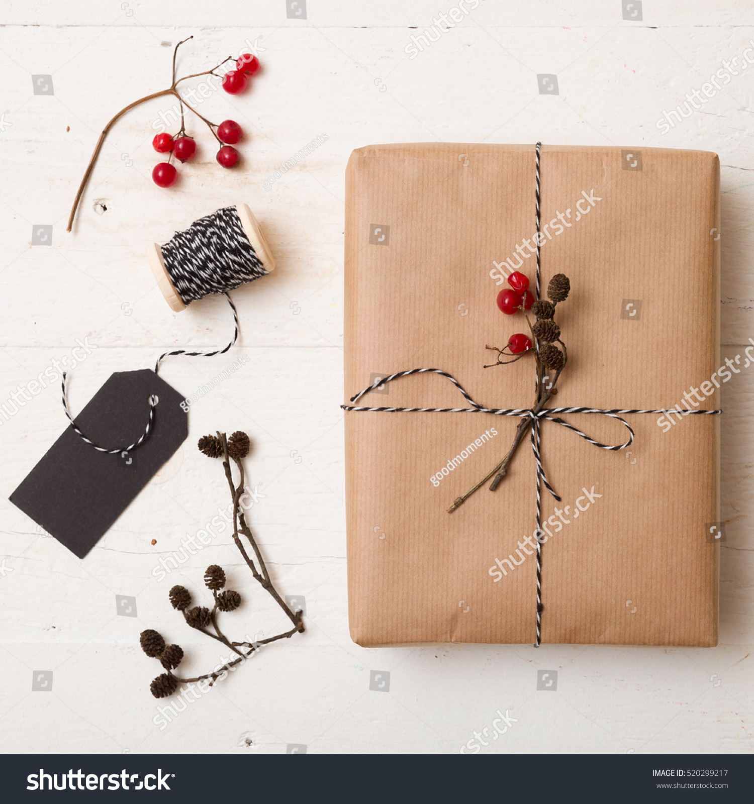 Top View On Christmas Gift Wrapped Stock Photo (Edit Now) 520299217 ...