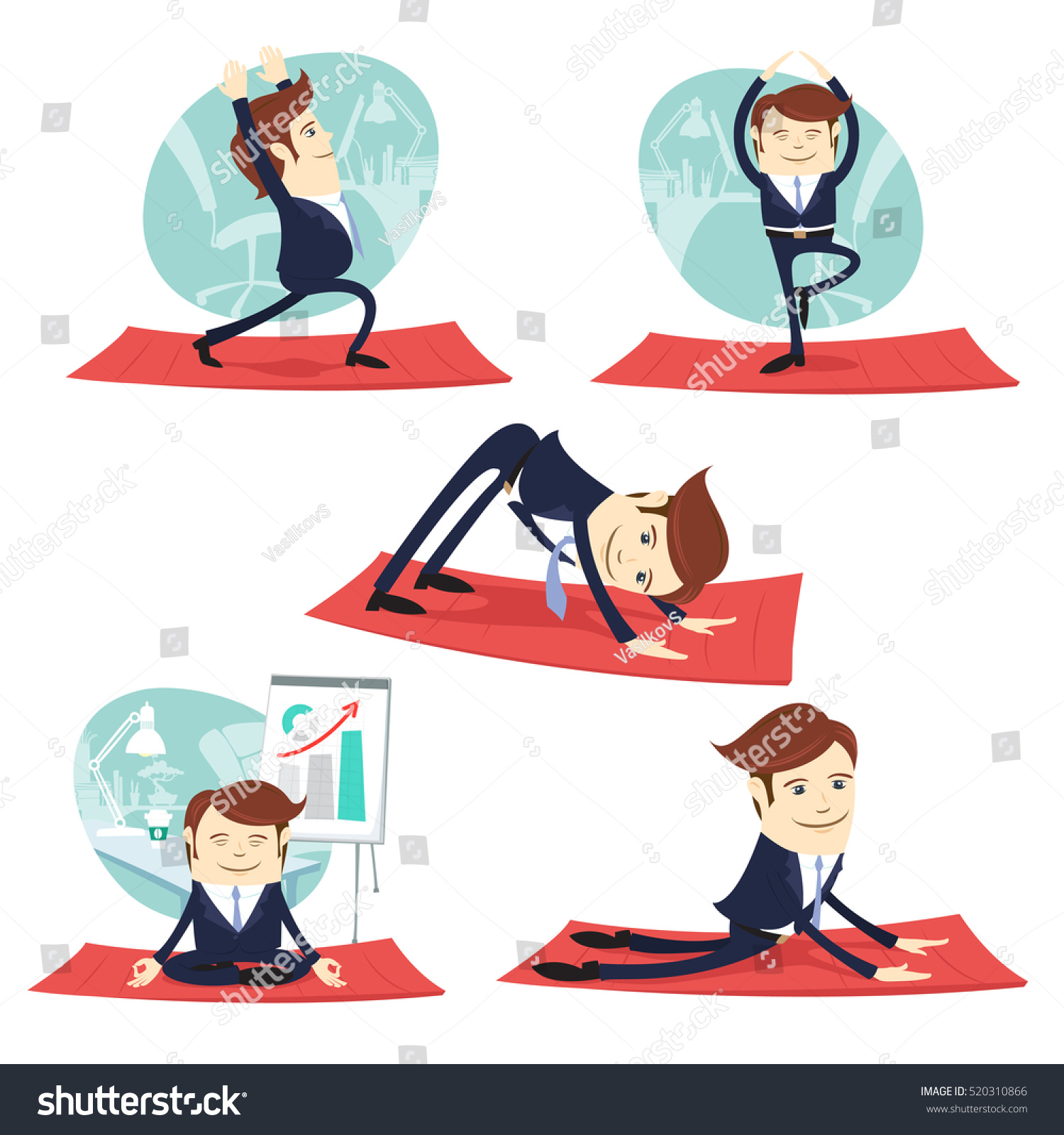 meditation businessman office. vector illustration funny business man wearing suit doing yoga and stretching warrior tree meditation businessman office a