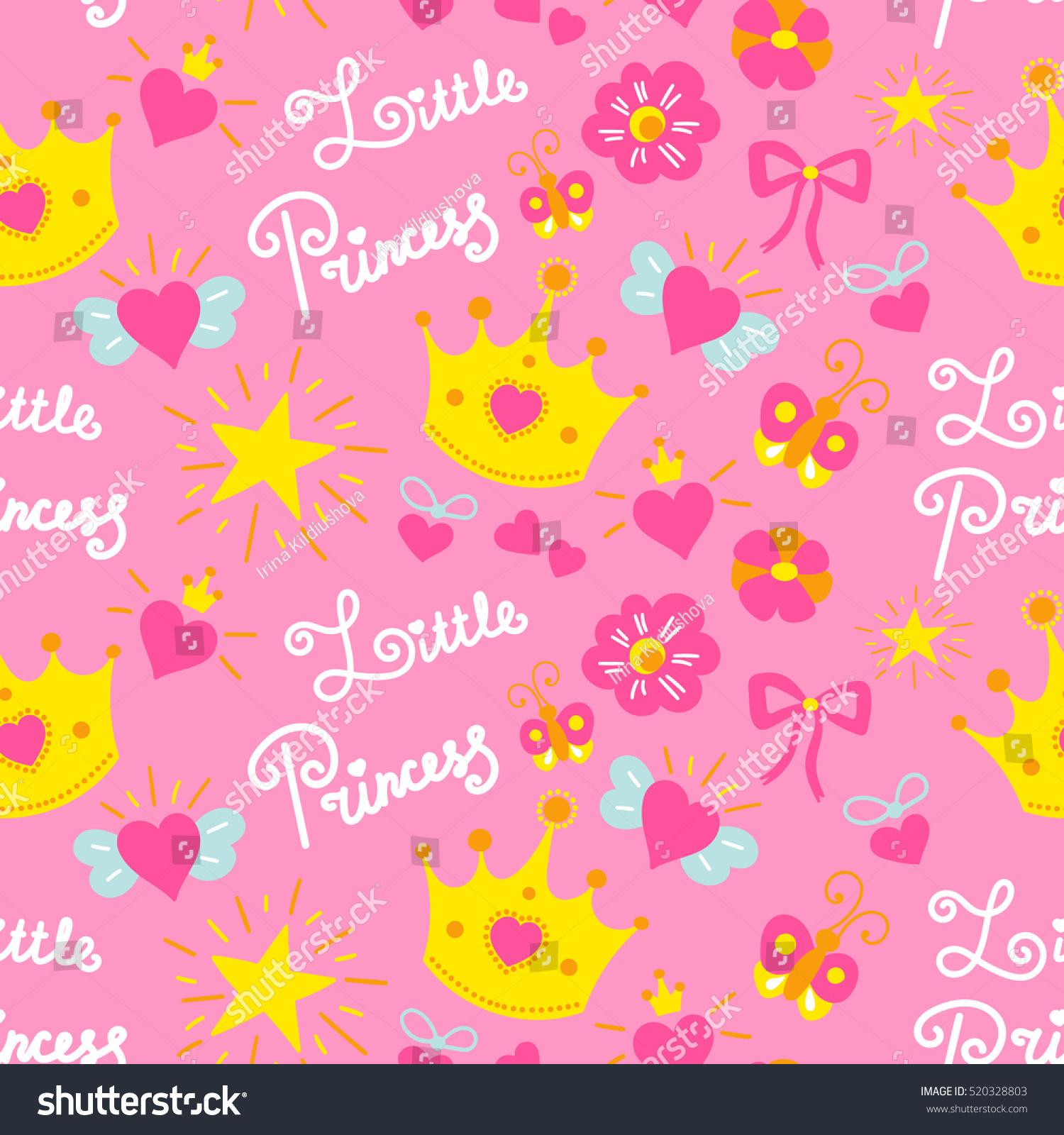Pink Little Princess Pattern Vector Sweet Stock Vector