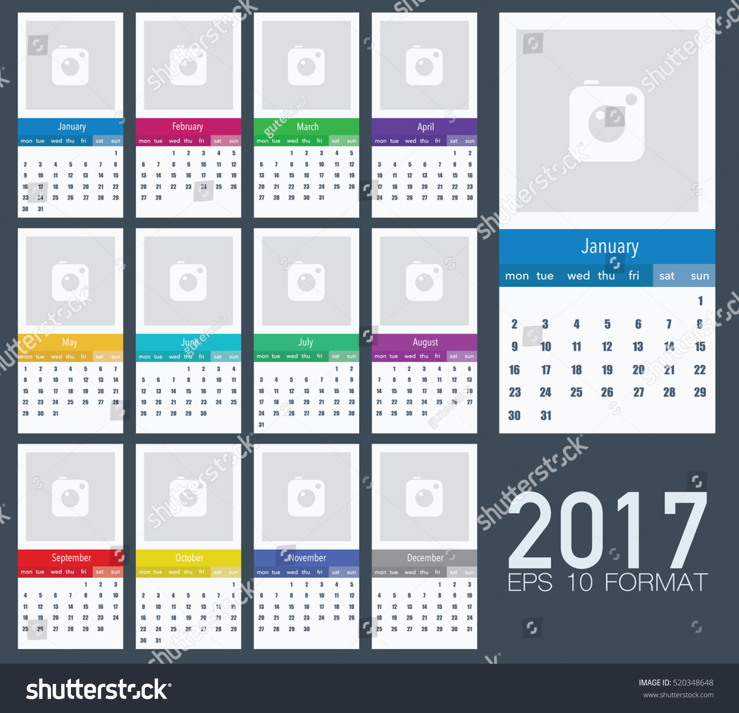 Calendar Design Material : Calendar for with simply material design and photos