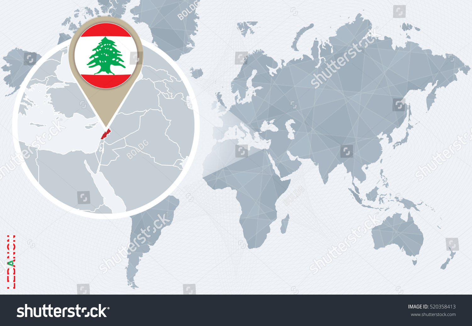Abstract blue world map magnified lebanon stock illustration abstract blue world map with magnified lebanon lebanon flag and map raster copy sciox Gallery