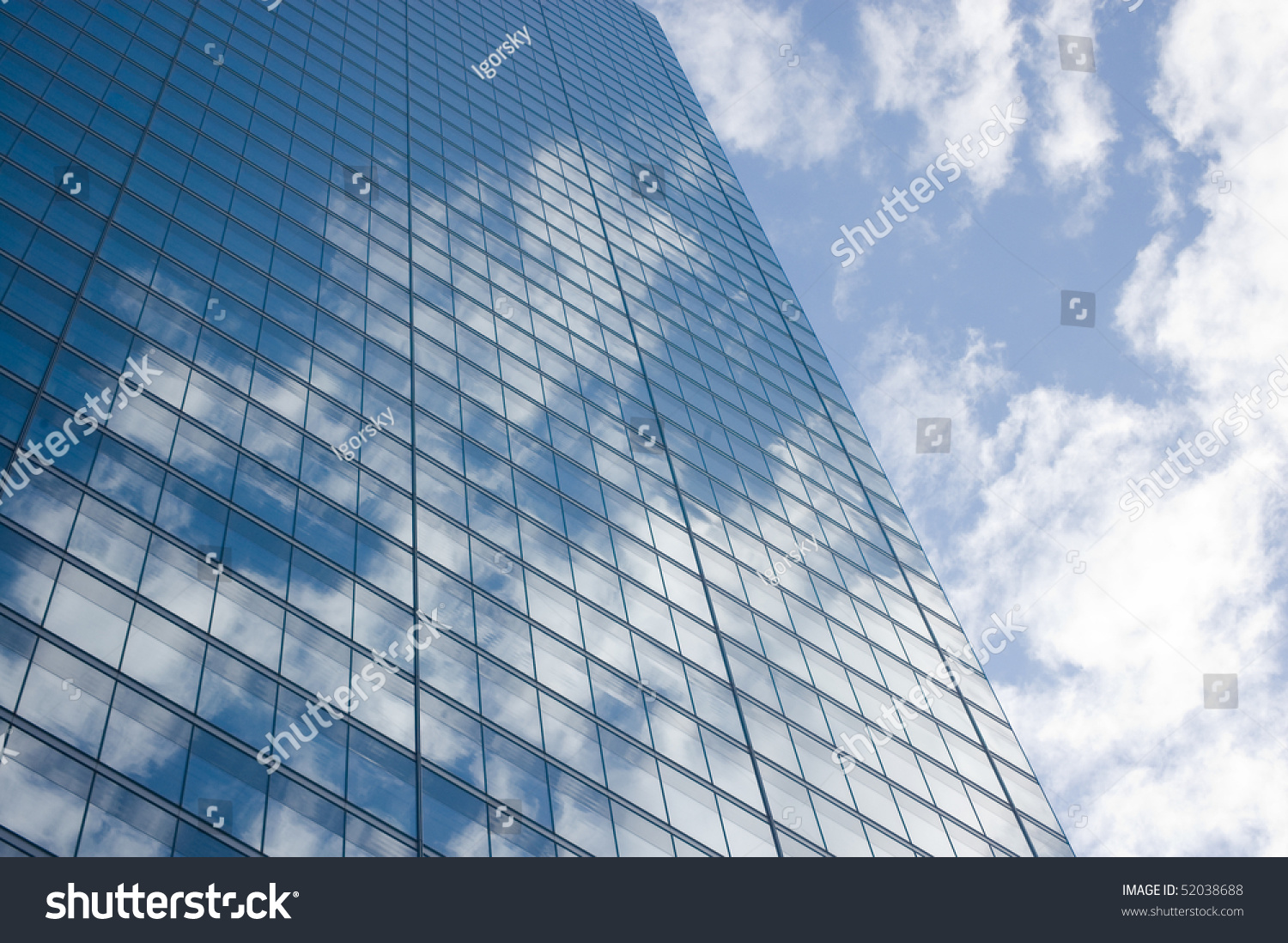 Sky Reflection On Windows , Building Glass Background ...