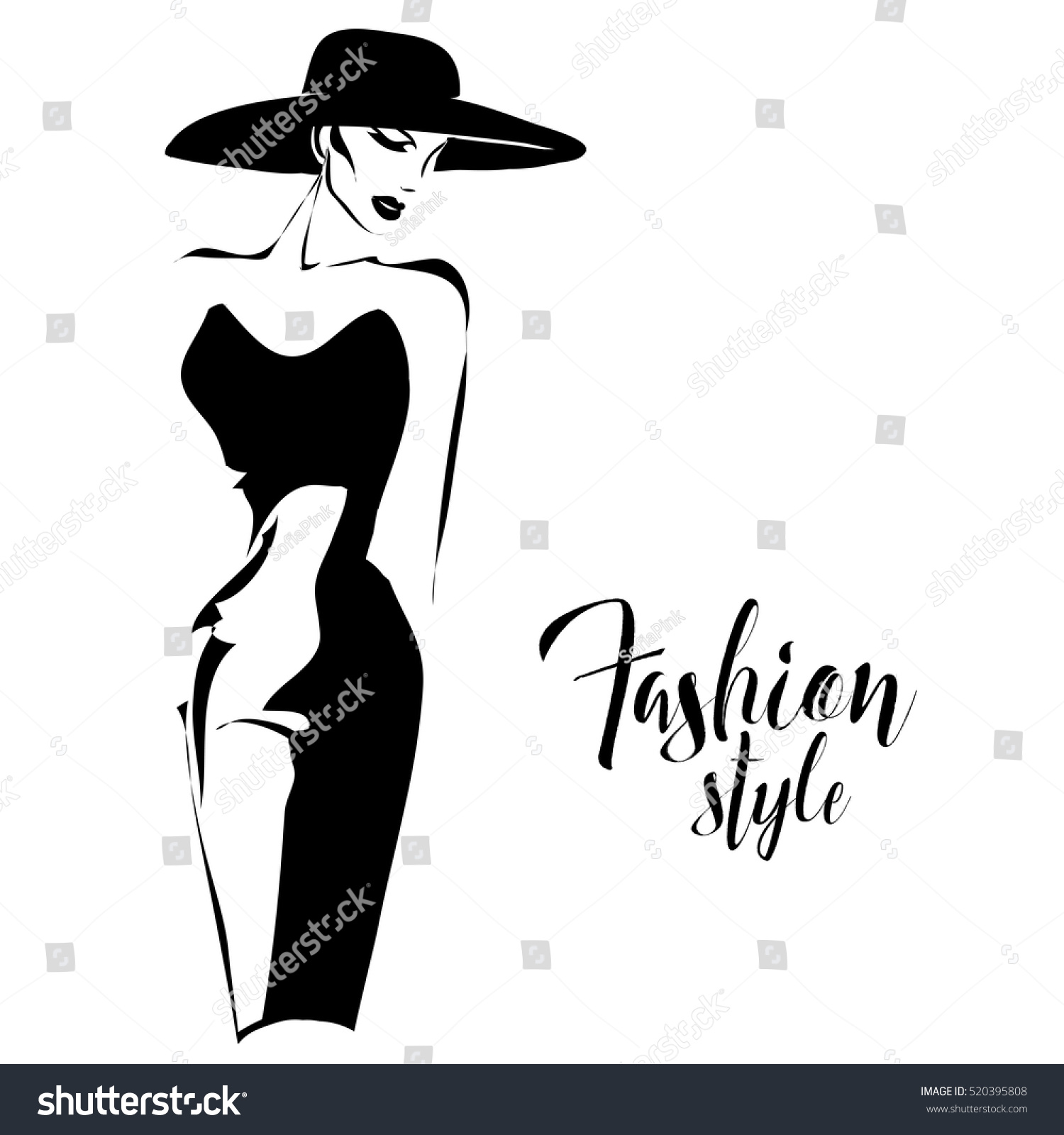 black white retro fashion model sketch stock vector
