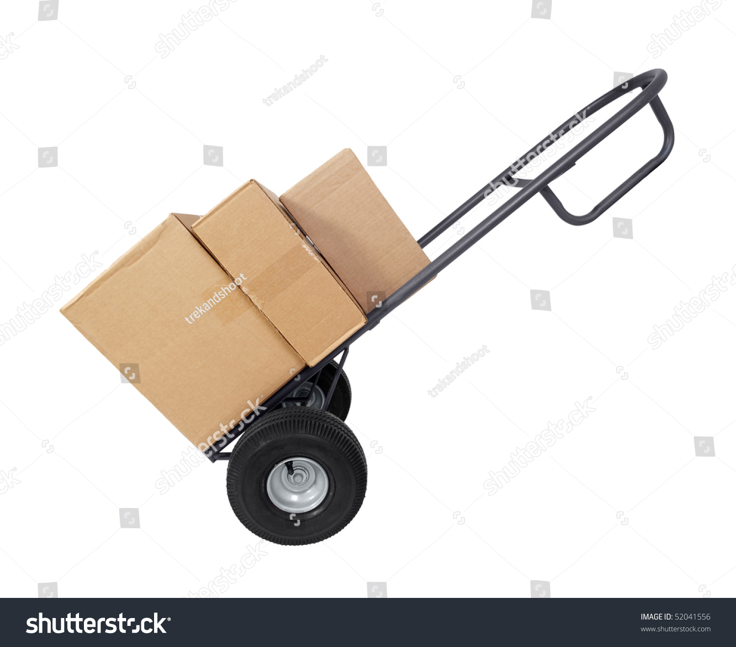 large furniture dolly with brown shipping boxes