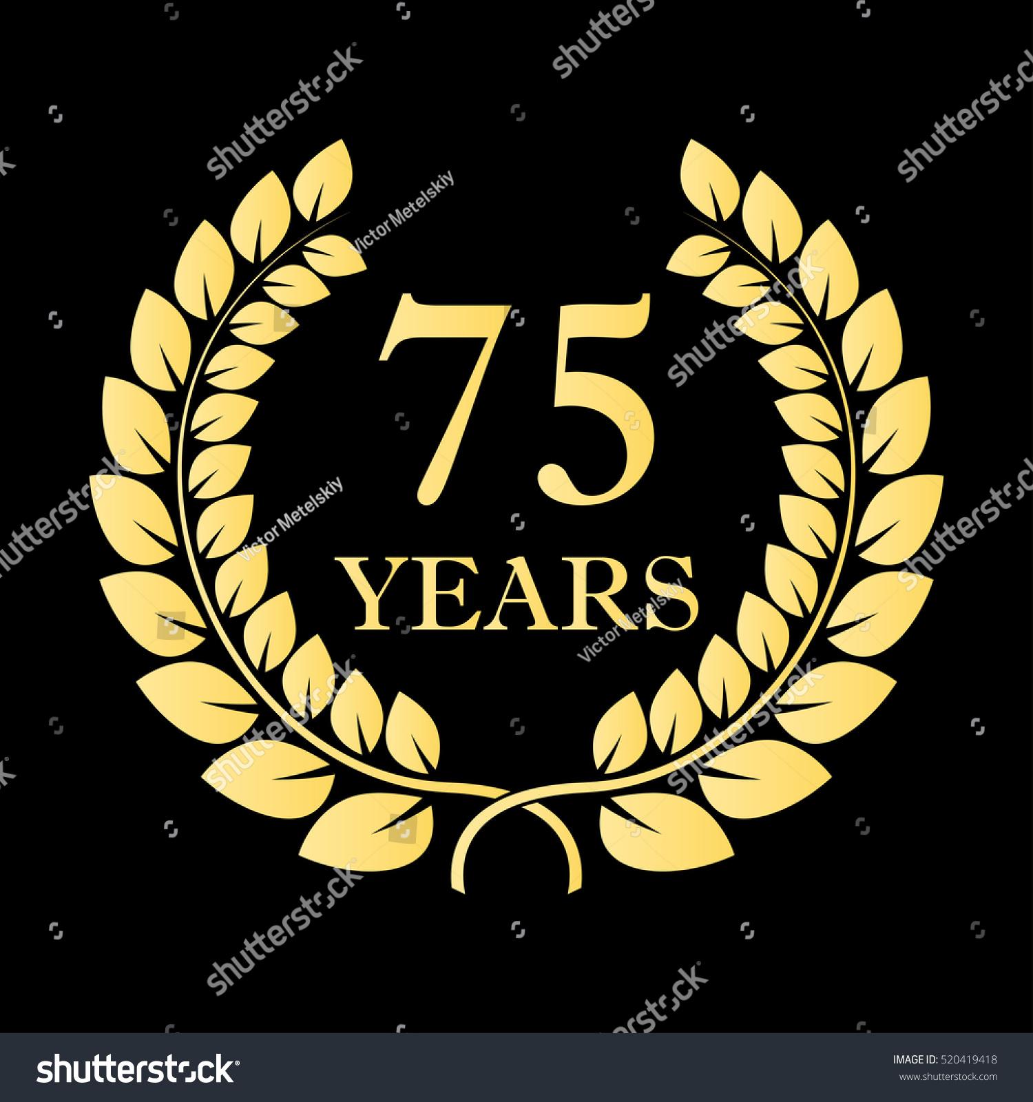 75 Years Icon 75th Anniversary Birthday Stock Vector Royalty Free