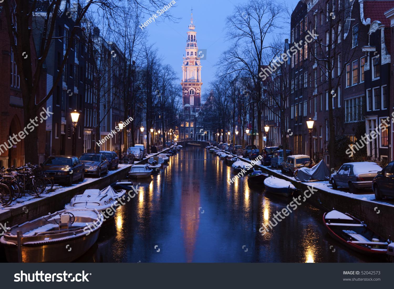 cool amsterdam winter netherlands stock photo 52042573. Black Bedroom Furniture Sets. Home Design Ideas