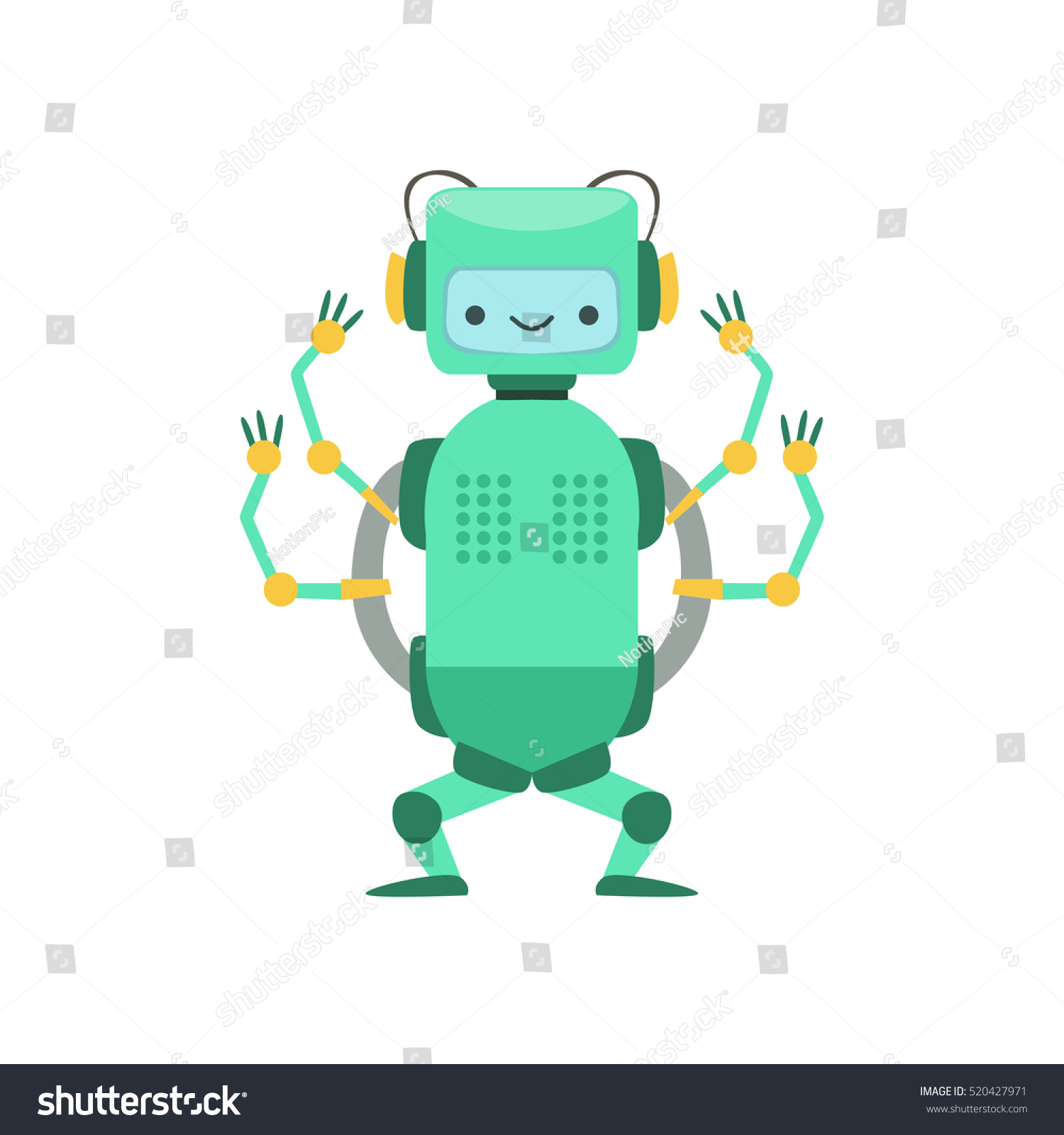 Green Friendly Android Robot Character Four Stock Vector ...  Green Friendly ...
