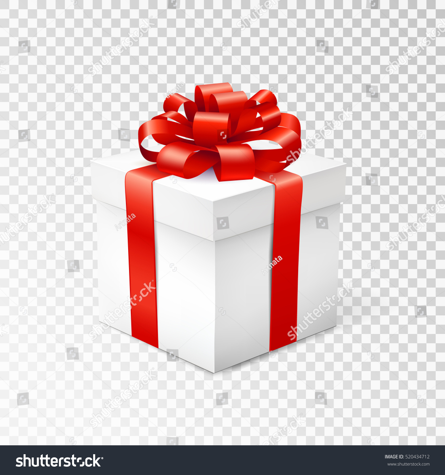 gift box red ribbon isolated on stock vector 520434712