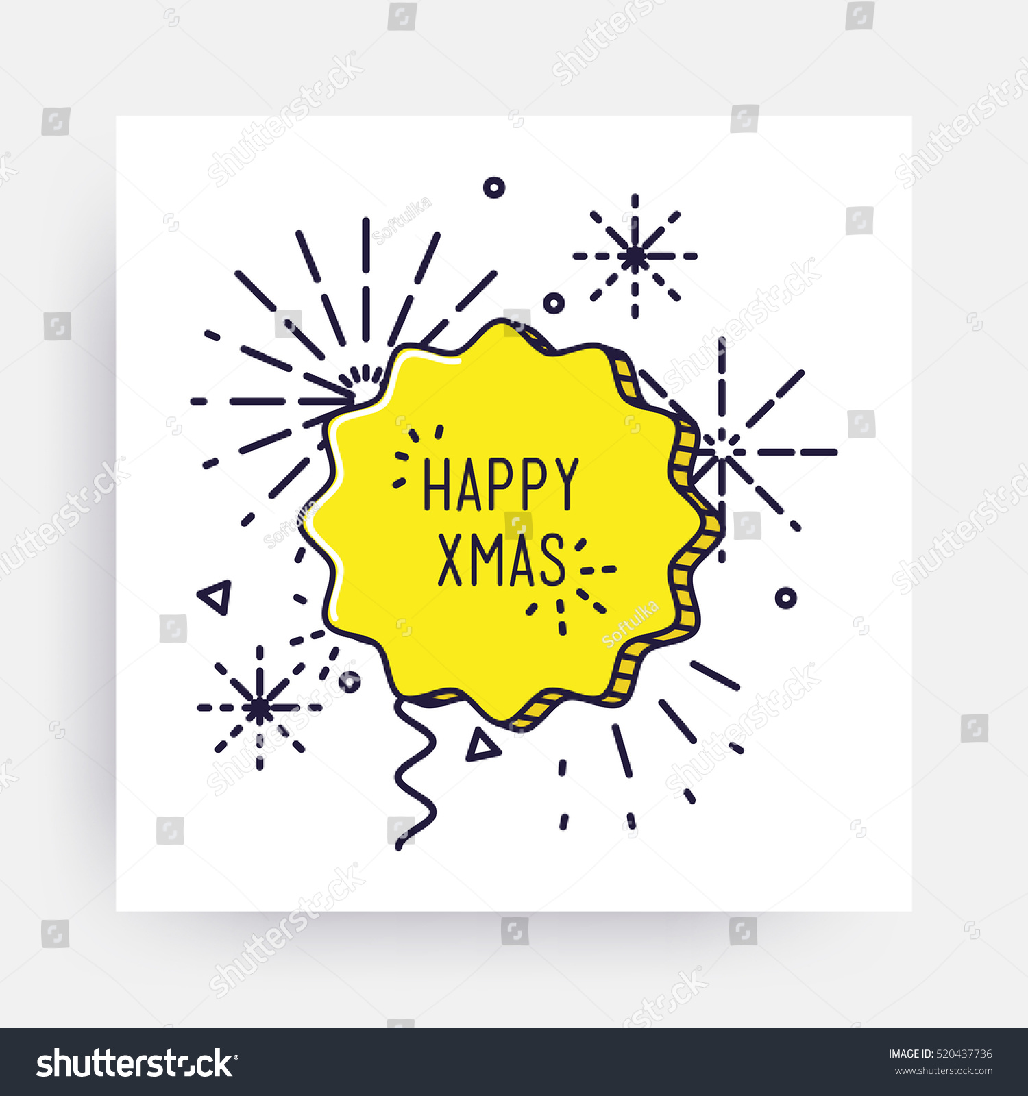 Merry Christmas New Year Design Linear Stock Vector Royalty Free