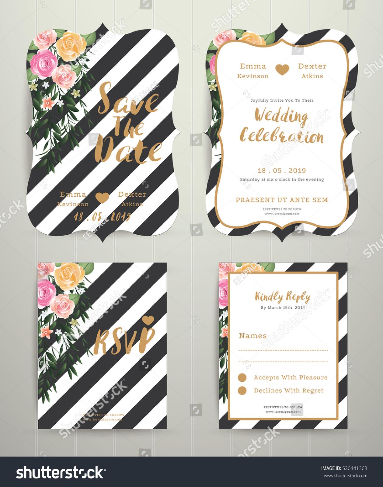 Modern Wedding Invitation Card Set On Stock Vector 520441363 ...