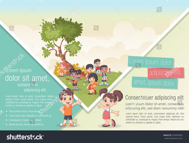 Template advertising brochure cute cartoon kids stock for Advertising brochure template