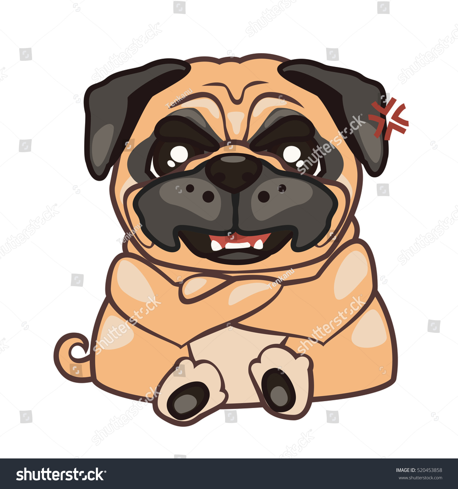 Dog Sitting Angry Sticker Pug Vector Vector de stock (libre de ...