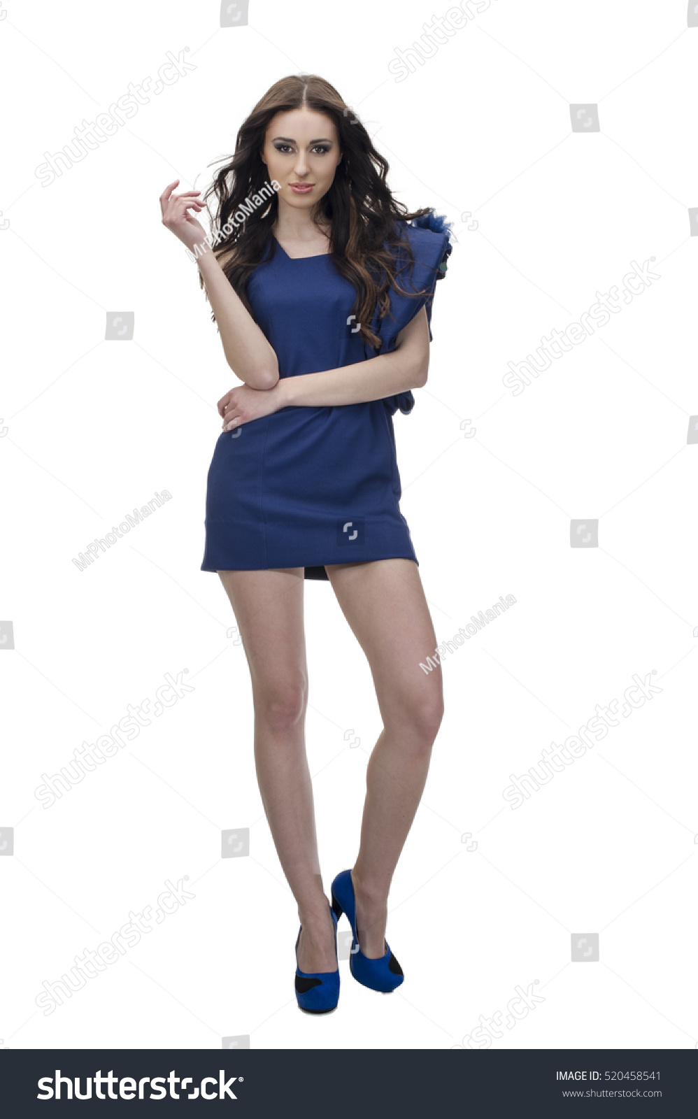 Young Pretty Lady In Blue Dress Full Length Studio