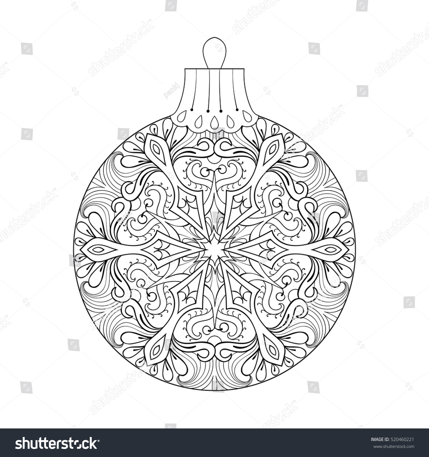 vector vintage christmas ball tree new stock vector 520460221
