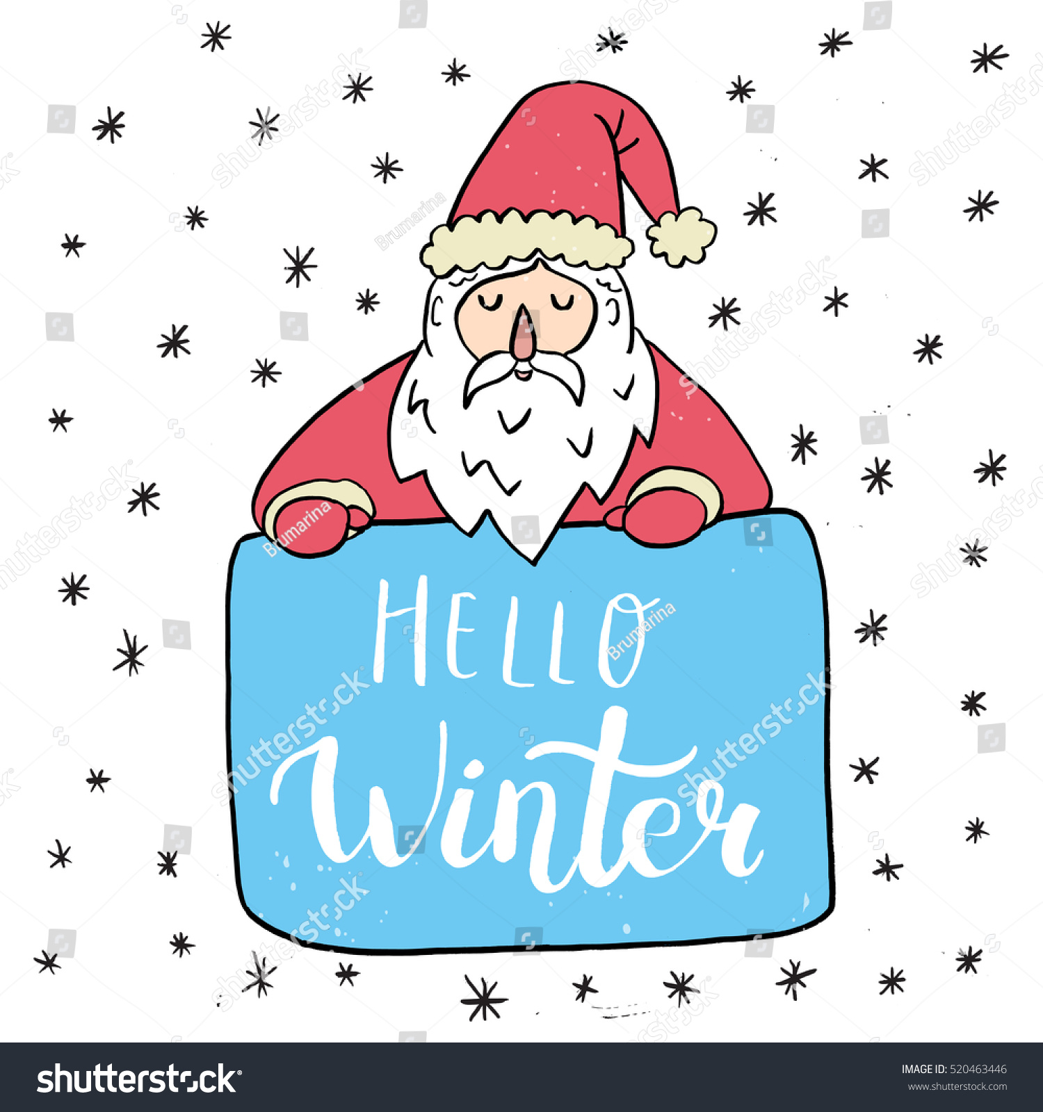 Christmas Card Template Santa Claus Hello Stock Vector Royalty Free
