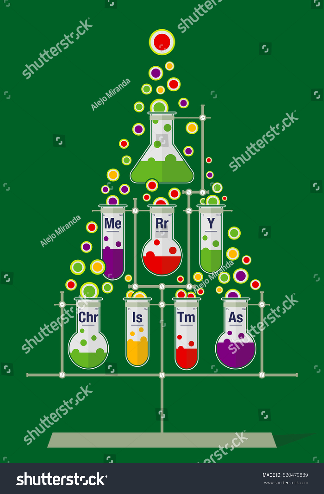 Christmas Tree Made Test Tubes Bubbles Stock Vector 520479889 ...