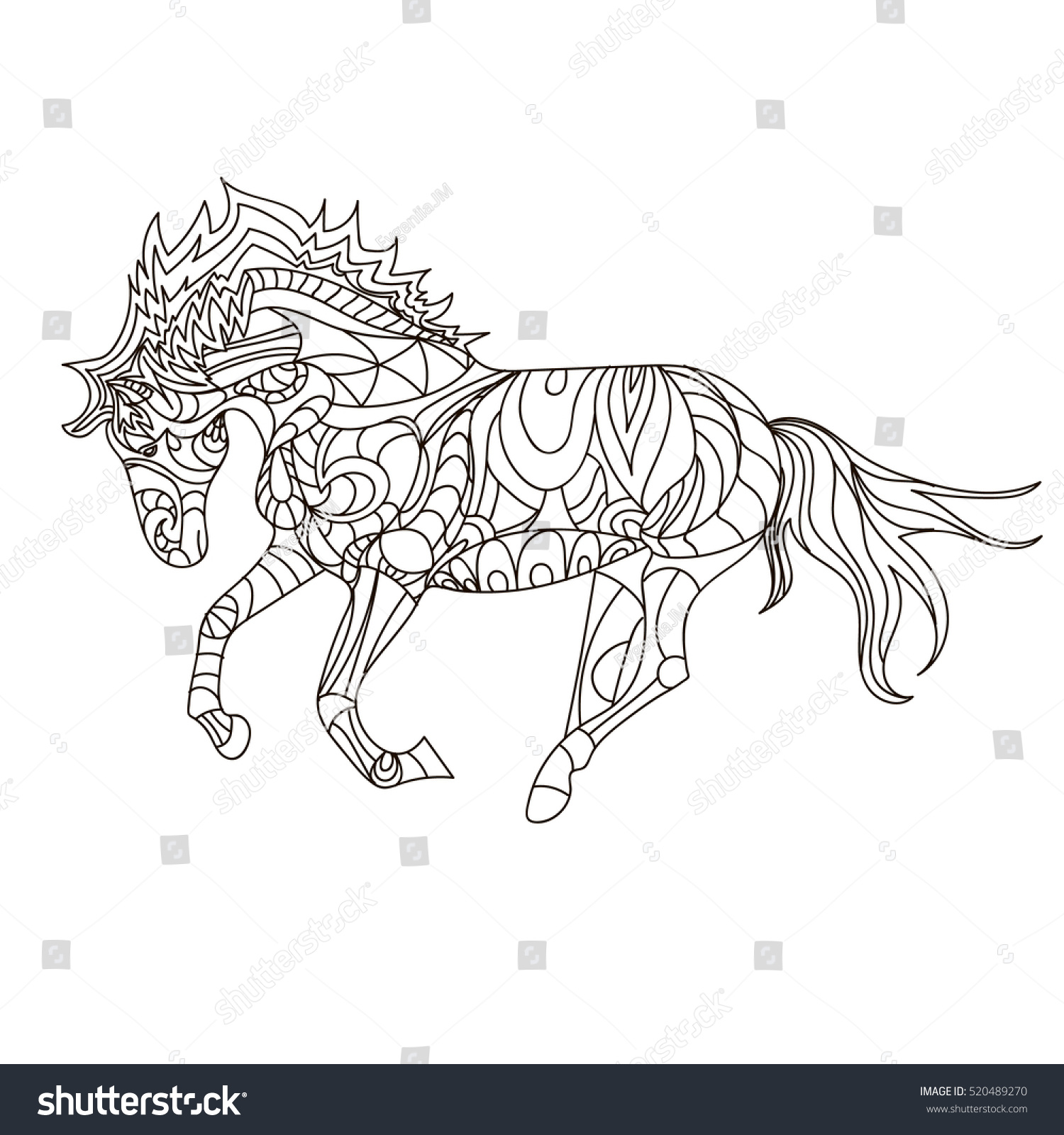Horse Coloring Simple Stock Vector 520489270
