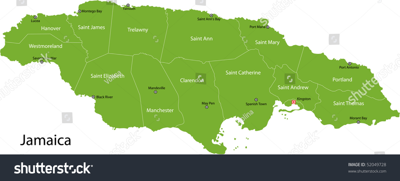 Jamaica Map Parishes Borders Capital Cities Stock Illustration - Map of jamaica showing parishes