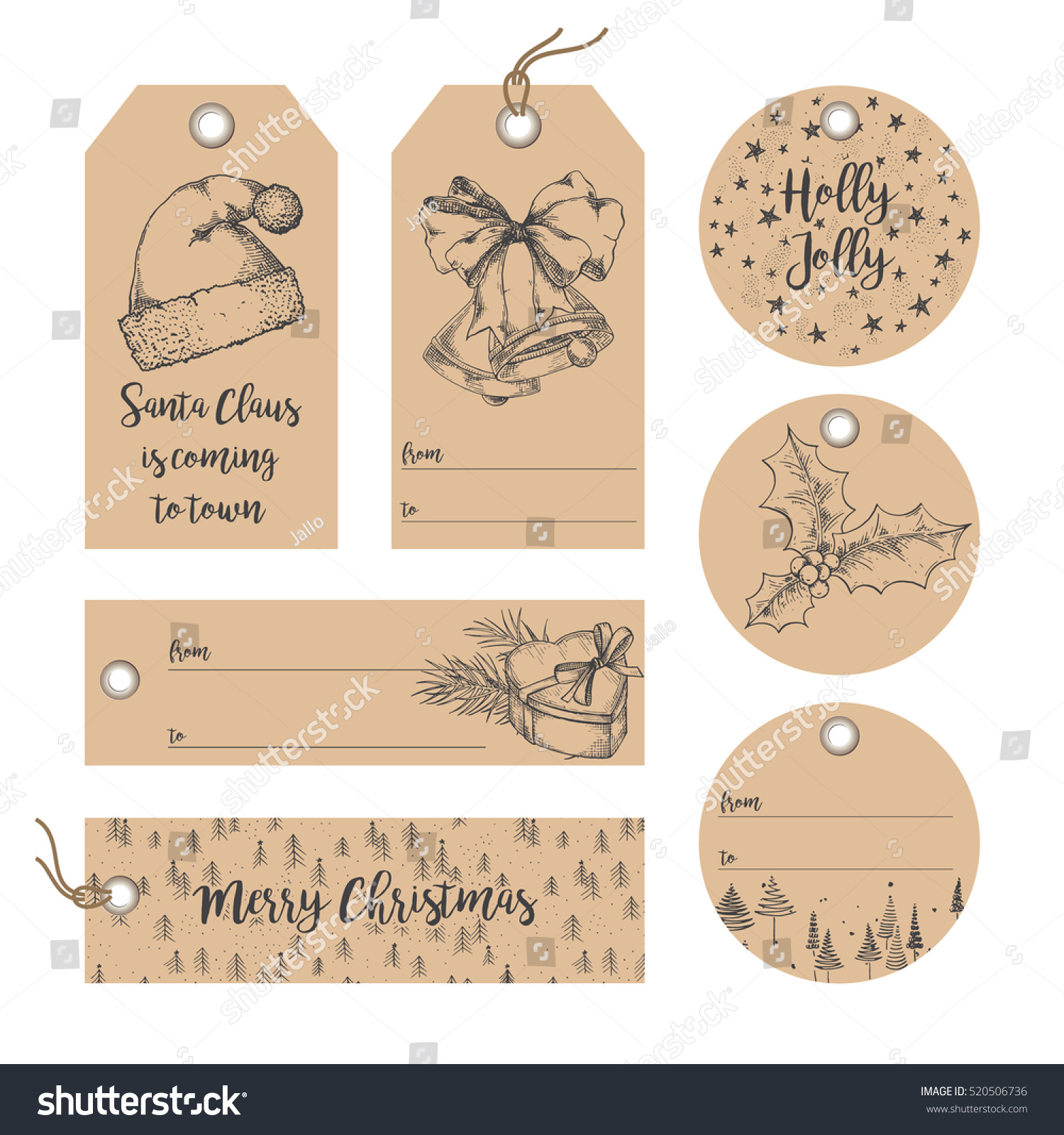 collection of christmas new year noel gift tags badges labels template