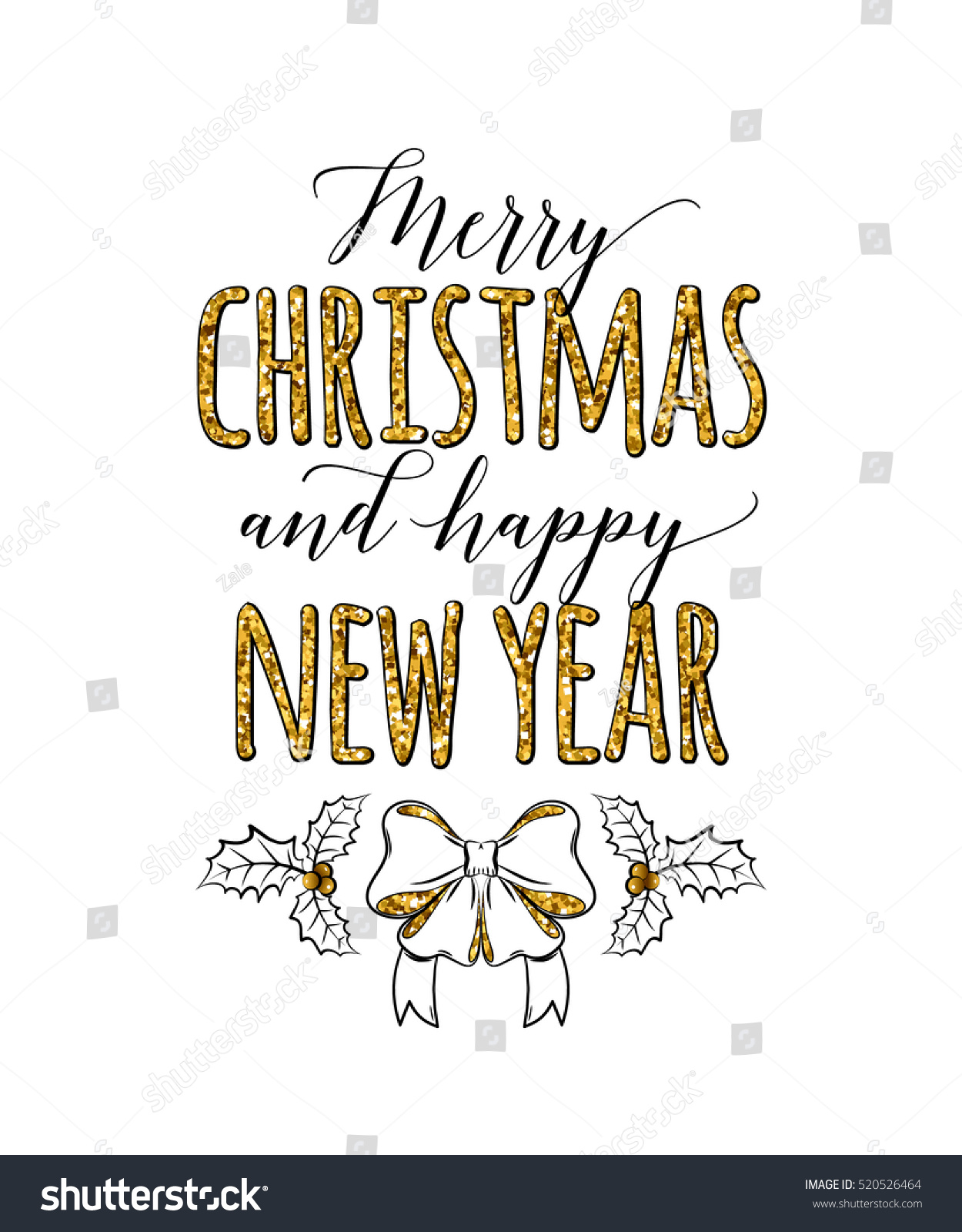 Merry Christmas Happy New Year Golden Stock Vector (Royalty Free ...