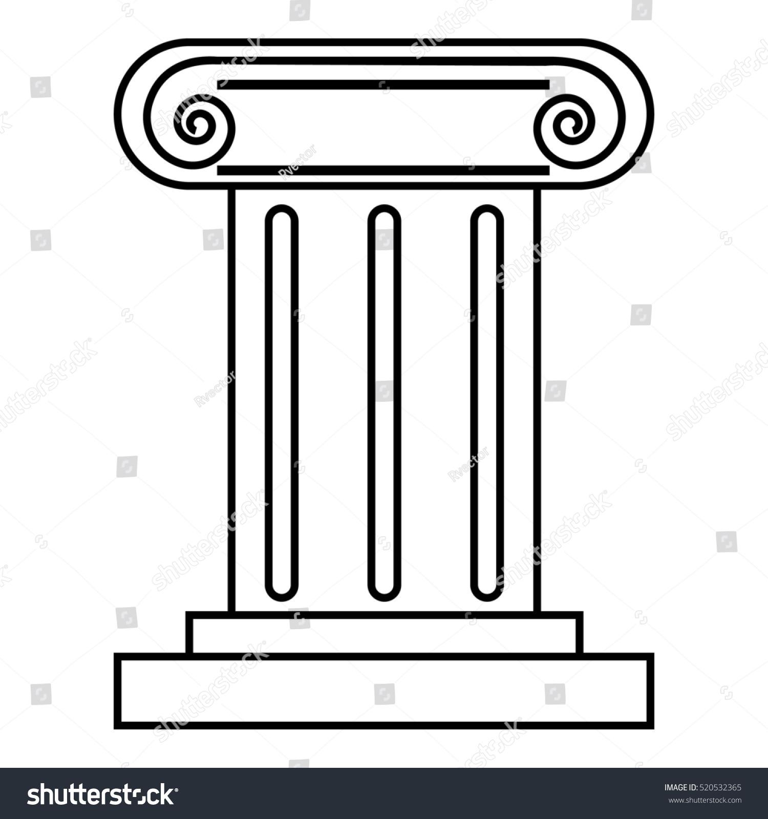 Roman Pillar Icon Outline Illustration Roman Stock