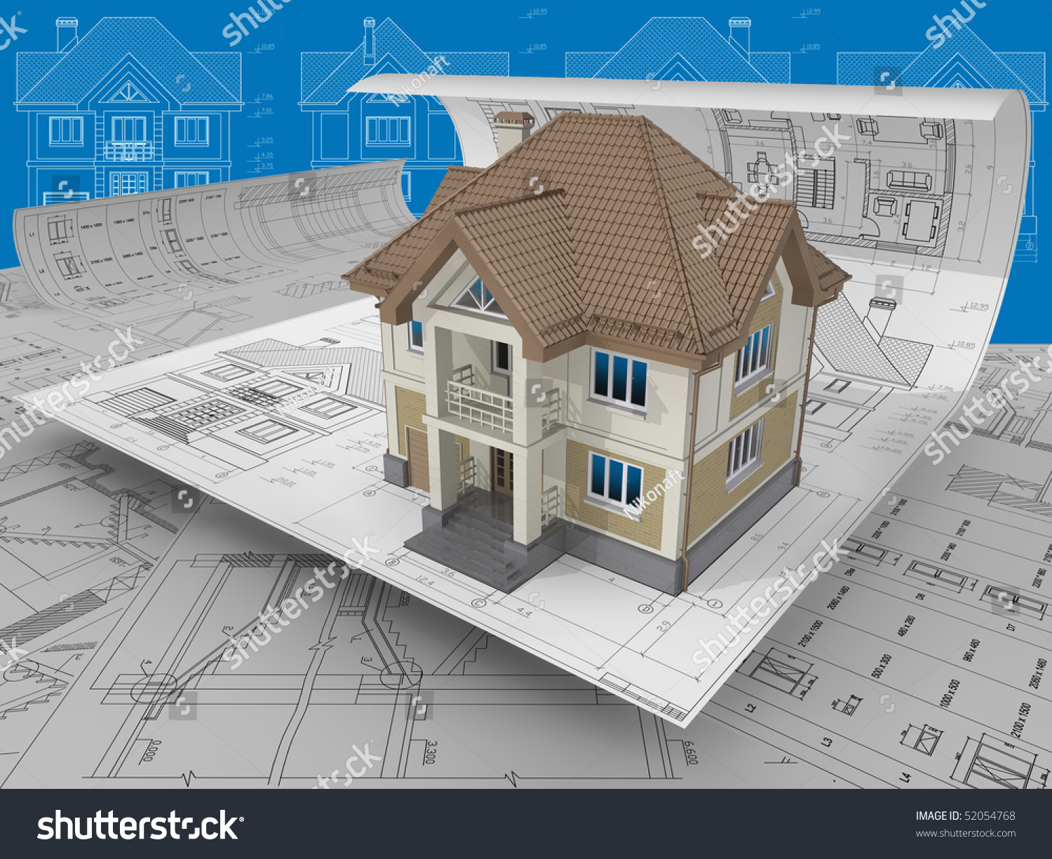 3d isometric view residential house on stock illustration